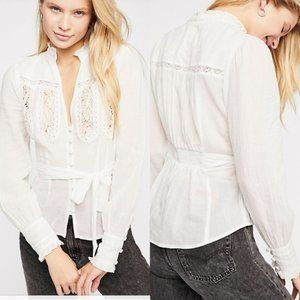Free People Sweet Memories Blouse Top New White